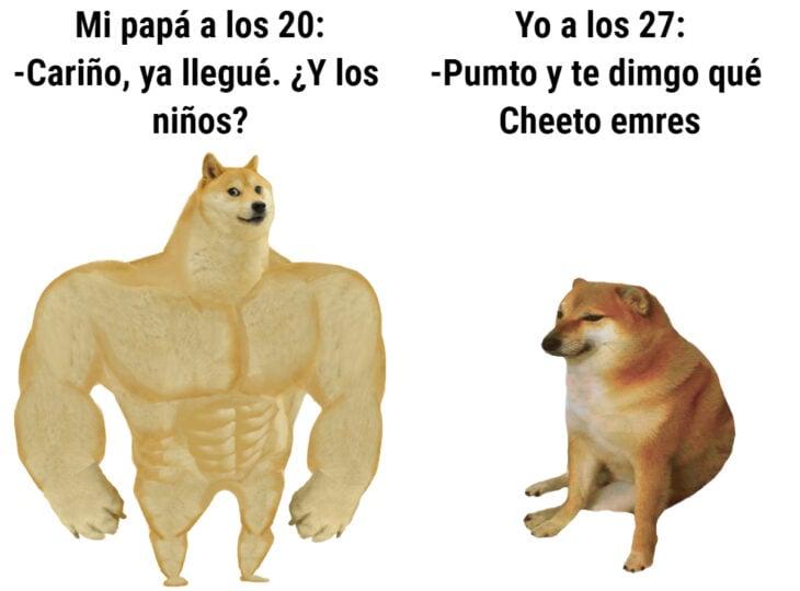 Los memes virales del 2020; perro fuerte y perro con ansiedad, amnsiedad, Swole Doge y Cheems