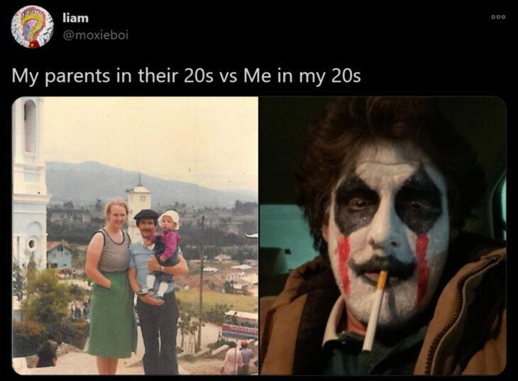 Reto de Twitter 'Mis papás a mi edad vs. Yo'; papás cargando a su bebé en un pueblito, hombre disfrazado de payaso