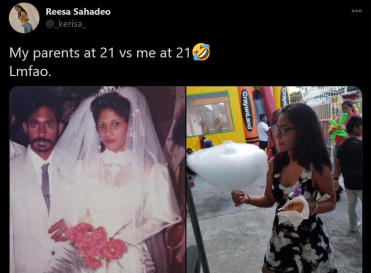 Reto de Twitter 'Mis papás a mi edad vs. Yo'; pareja casándose con vestido blanco y traje marfil, joven con comida en las manos en una fiesta
