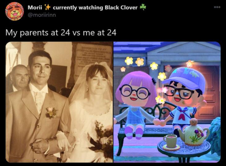 Reto de Twitter 'Mis papás a mi edad vs. Yo'; pareja casándose con vestido blanco y traje gris, personajes de Animal Crossing