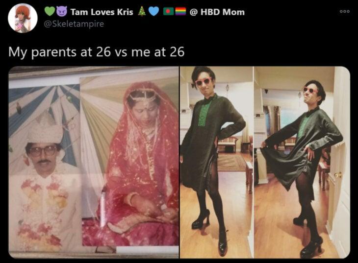 Reto de Twitter 'Mis papás a mi edad vs. Yo'; pareja casándose con traje tradicional indio, joven con vestido verde, medias y tacones