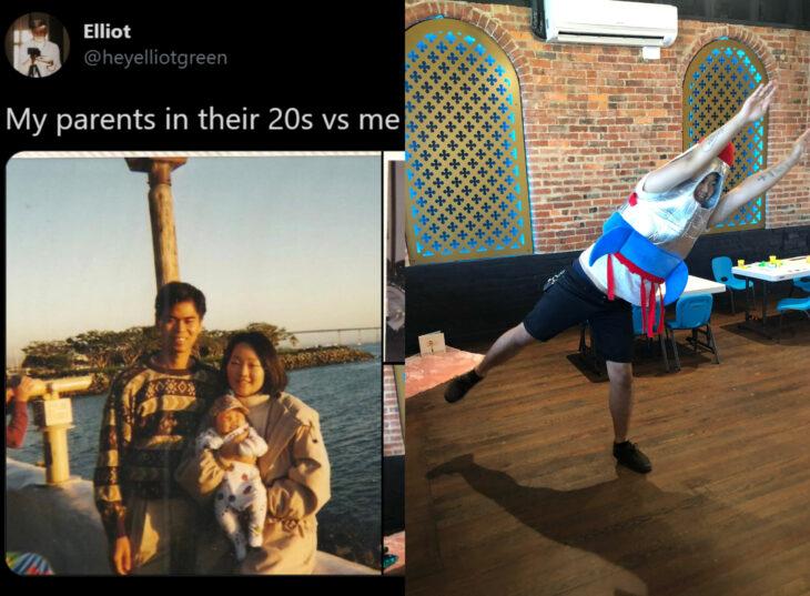 Reto de Twitter 'Mis papás a mi edad vs. Yo'; pareja cargando a su bebé, hombre con disfraz de cohete