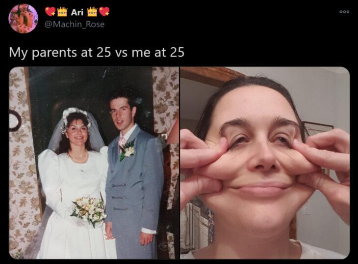 Reto de Twitter 'Mis papás a mi edad vs. Yo'; pareja casándose con vestido blanco y traje gris, chica haciendo caras graciosas