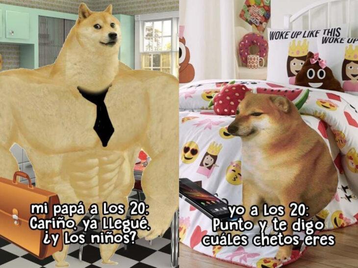 Meme de perro Cheems fuerte y chiquito; mis papás a mi edad vs. yo
