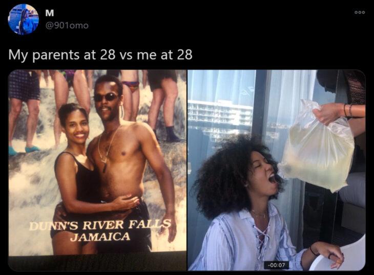 Reto de Twitter 'Mis papás a mi edad vs. Yo'; papás en las cascadas de Jamaica, mujer de cabello chino en fiesta