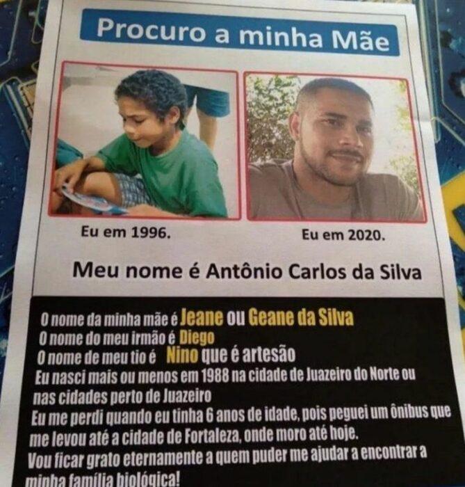 Nota del periódico que publicó Carlos para reencontrarse con su familia