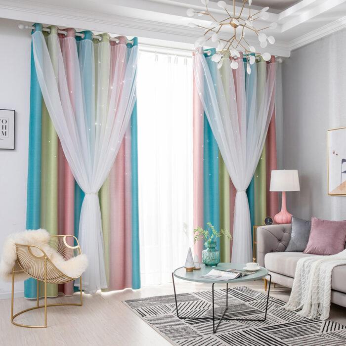 Regalos bonitos para el intercambio de Navidad; cortinas de colores pastel rosa, amarillo, azul y con tul para la sala o la habitación
