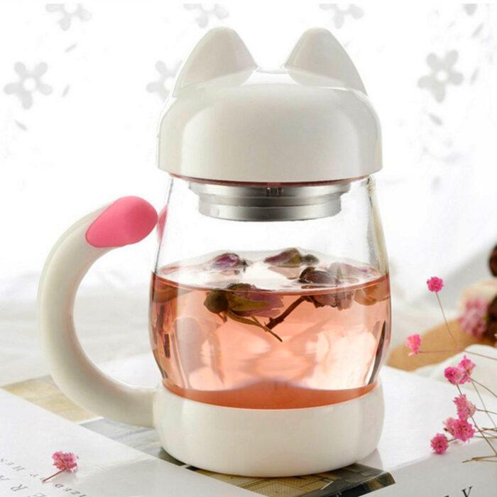 Regalos bonitos para el intercambio de Navidad; vaso en forma de gato blanco para el té