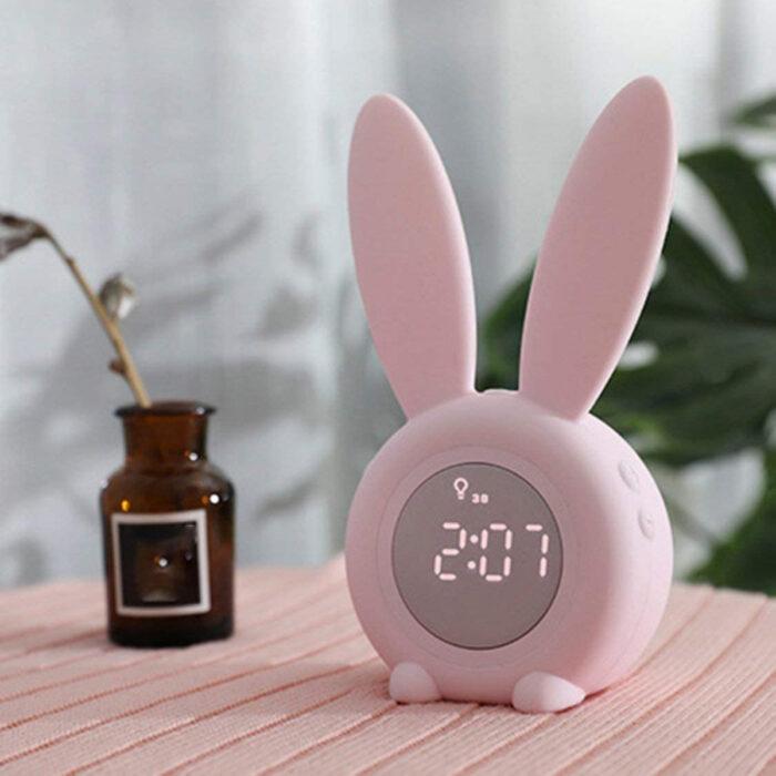 Regalos bonitos para el intercambio de Navidad; reloj despertador kawaii de conejito rosa
