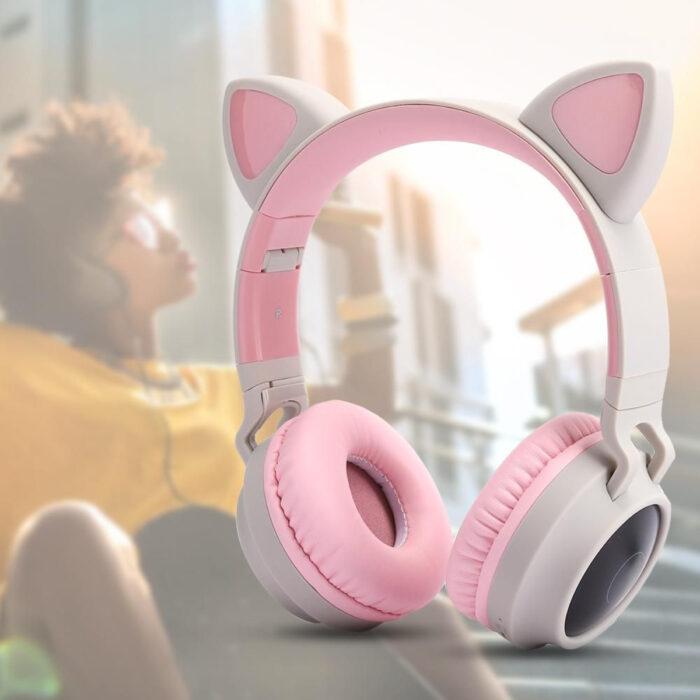 Regalos bonitos para el intercambio de Navidad; audífonos kawaii de diadema con orejas de gato