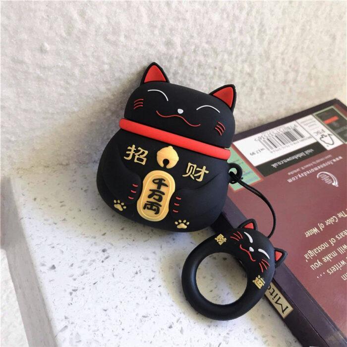 Regalos bonitos para el intercambio de Navidad; funda para airpods, audífonos, en forma de gato de la suerte japonés negro, maneki-neko