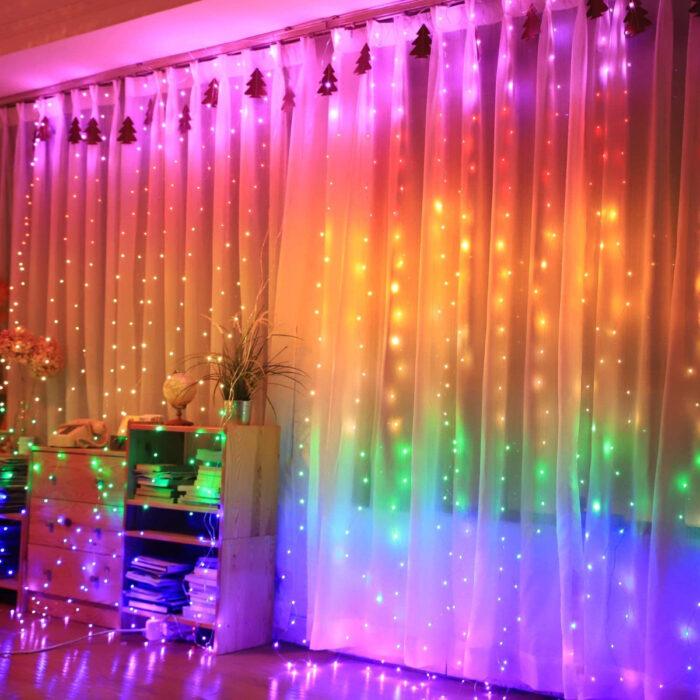 Regalos bonitos para el intercambio de Navidad; luces led de colores del arcoíris para cortinas