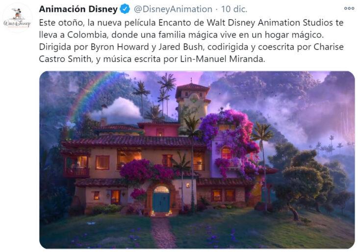 Screen Shot de Twitter con información de la nueva película de Disney: 'Encanto'