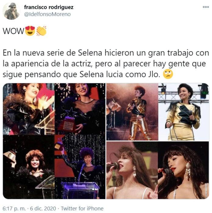 Screen Shot de Twitter sobre la reacción de 'Selena: la serie'