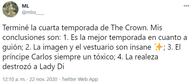 Screen shot de Twitter sobre comentarios de la cuarta temporada de 'The Crown'