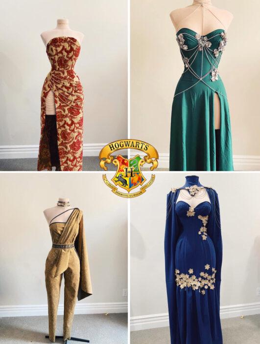 Vestidos inspirados en las cuatro casas de Hogwarts confeccionado por Sarah Hambly