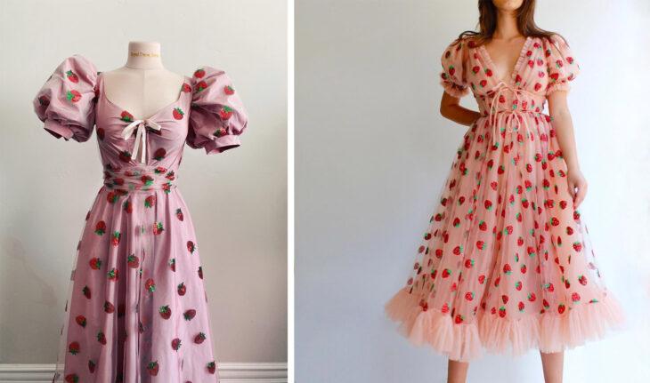 Vestido de fresas confeccionado por Sarah Hambly