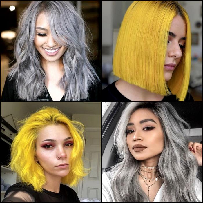 chicas con cabello amarillo y gris, corto, largo, lacio y ondulado