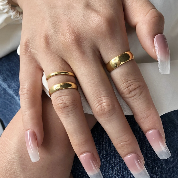 thin round golden rings, wide