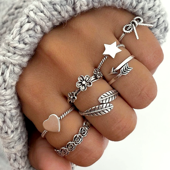 silver rings with heart, star, bow, infinity, leaves and chains