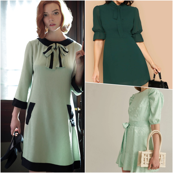 beth harmon wearing a mint green dress with black bow, two green dresses, one light with short sleeves