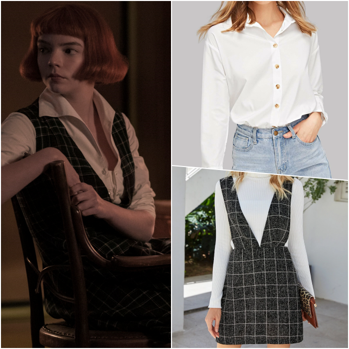 recreate the look of beth harmon with a black checked dress and thick straps and a white dress shirt with a high neck