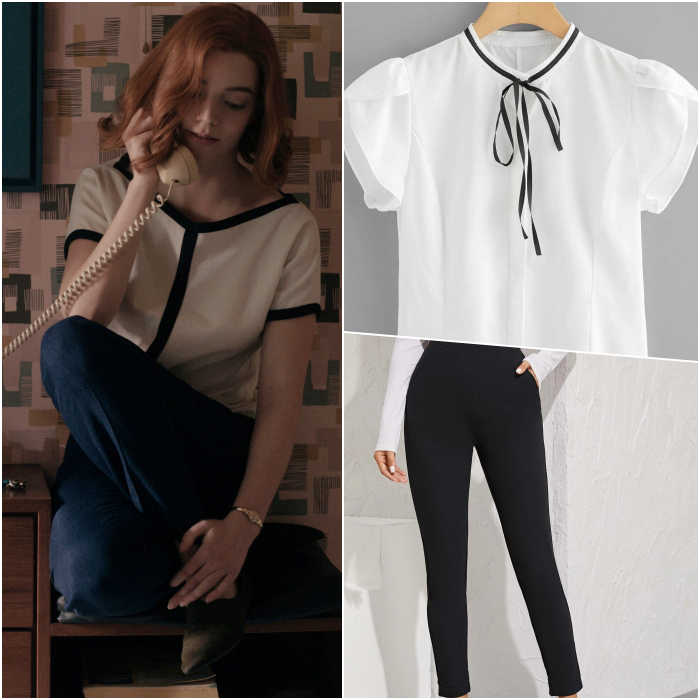 beth harmon look with white blouse and black views, straight black pants and flats