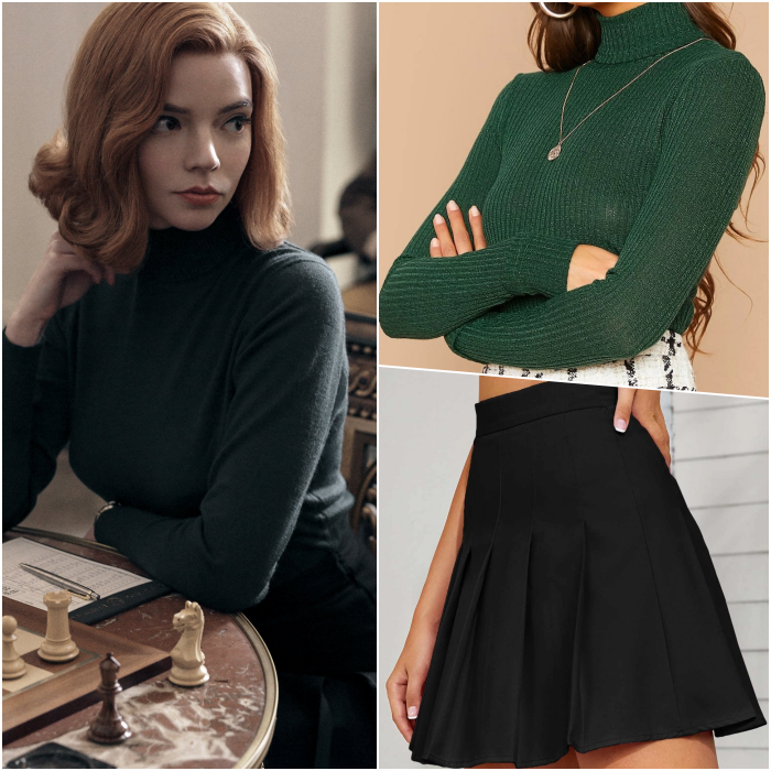 Beth Harmon look with green high neck long sleeve blouse, black skirt at the waist with planks