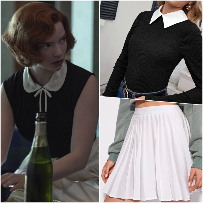 beth harmon look wearing black top with white collar, long sleeves, white skirt with planks