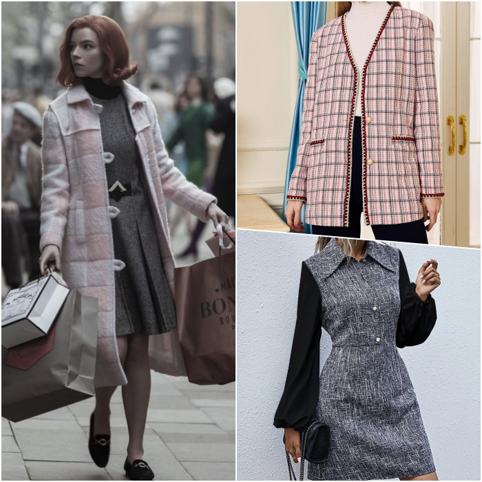 Beth Harmon look with fitted gray dress, puffed black sleeves, pink plaid coat with white and black shoes