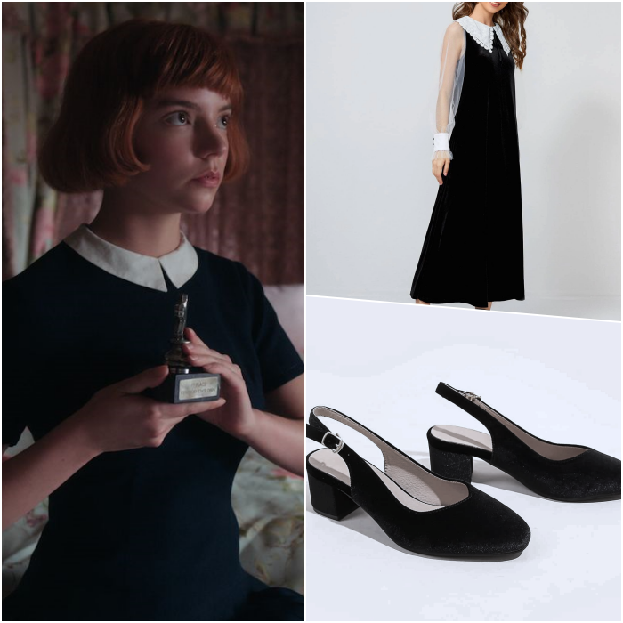 look by beth harmon with black dress with white collar, semitransparent sleeves and black heels