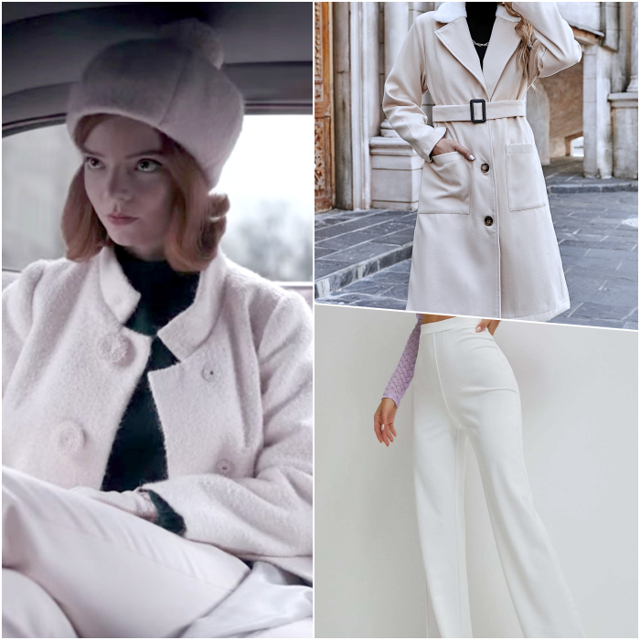 beth harmon look with black top, white fluffy coat, white dress pants and white knitted hat