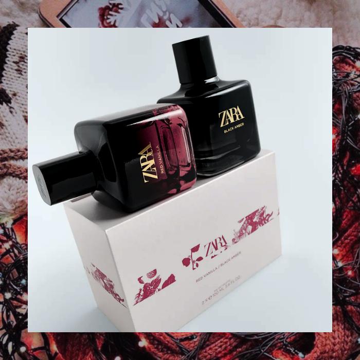 set de dos perfumes red vainilla y black amber de zara