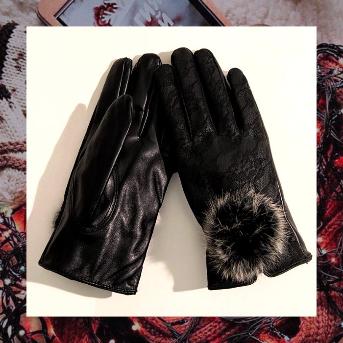 guantes calientitos de cuero y forro afelpado color negro