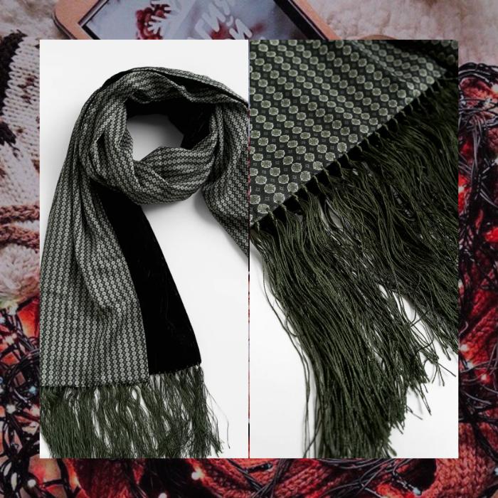 bufanda de terciopelo verde de zara