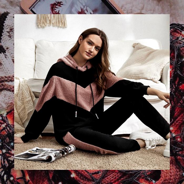 set de sudadera y pants color negro con vistas rosas, calientito para invierno de shein