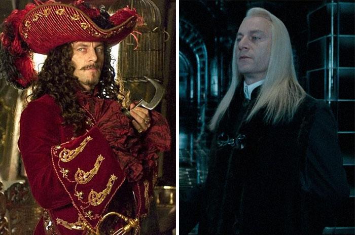 Jason Isaacs como Lucius Malfoy y Capitán Hook