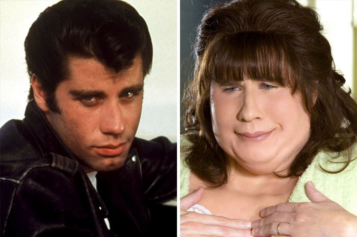 John Travolta como Danny Zuko y Edna Turnblad