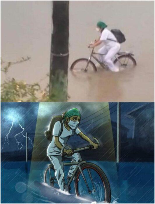 Enfermera se traslada en bicicleta hasta su trabajo
