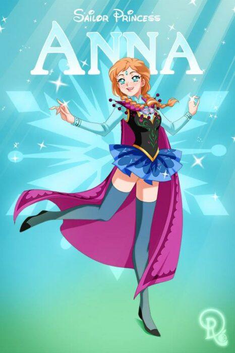 Ilustración digital de la artista Drachea Rannak, del personaje de Disney de Anna de 'Frozen' en su versión anime