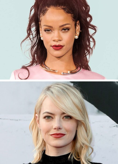 Top photo Rihanna, bottom photo Emma Stone