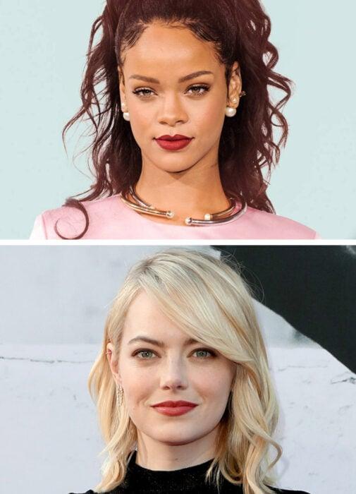 Parte superior de la foto Rihanna, foto inferior Emma Stone