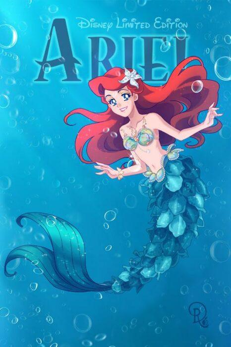 Ilustración digital de la artista Drachea Rannak, del personaje de Disney de Ariel de 'la Sirenita' en su versión anime