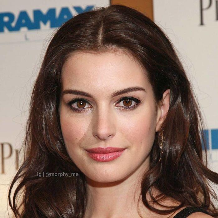 Anne Hathaway y Natalie Portman fusionados por  por el artista francés Morphy_me; Artista fusiona a dos celebridades y crea increíbles mashups