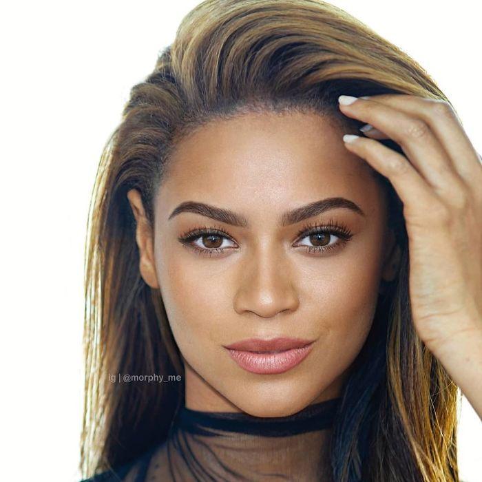 Zendaya y Beyonce fusionados por  por el artista francés Morphy_me; Artista fusiona a dos celebridades y crea increíbles mashups