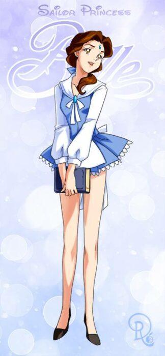 Ilustración digital de la artista Drachea Rannak, del personaje de Disney de Bella en su versión anime