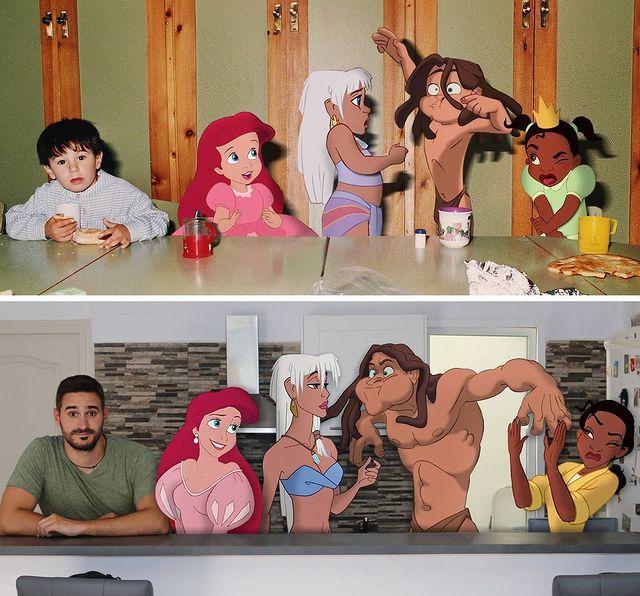 Samuel MB con niños de Disney