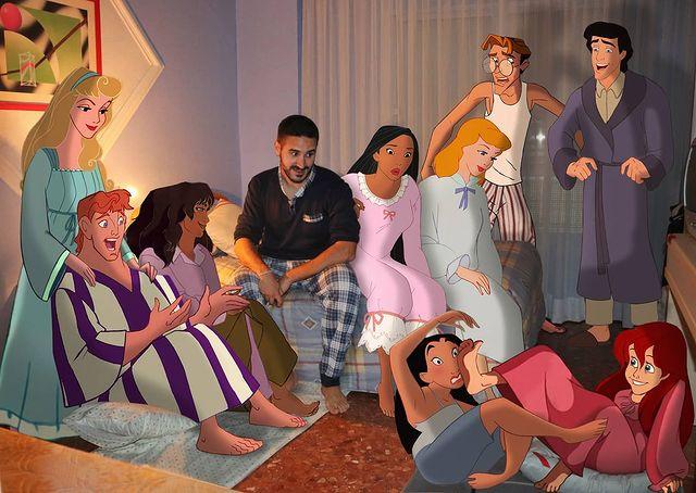 Samuel MB en pijamada de personajes de Disney