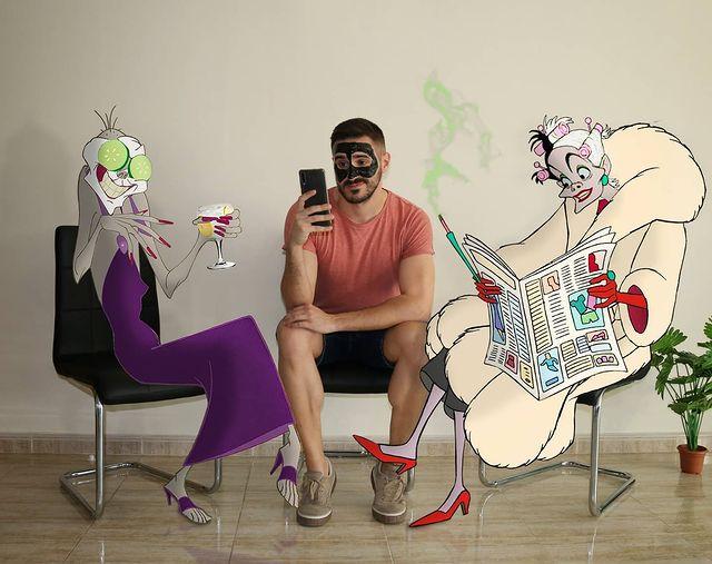Samuel MB con Yzma y Cruella