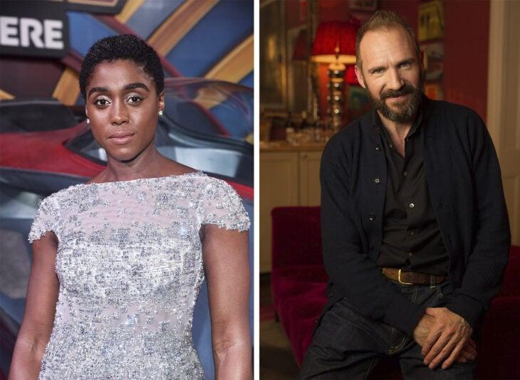 De izquierda a derecha: actriz Lashana Lynch y el actor Ralph Fiennes